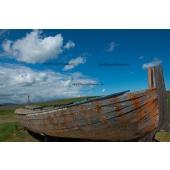 Blue sky and Vintage boat